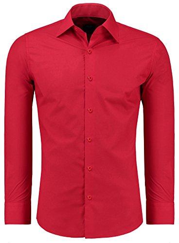 Jeel Langarm Herren Hemd Business Freizeit Hochzeit Slim Fit Tailliert 205 - Rot XL