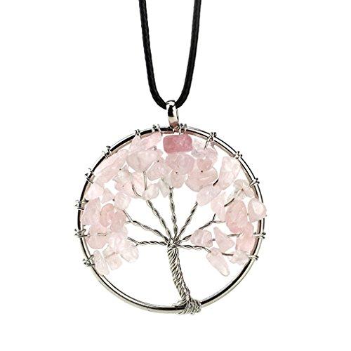 LUFA Colgante en forma de collar natural del árbol de la vida del diseño natural de la grava 7 colores