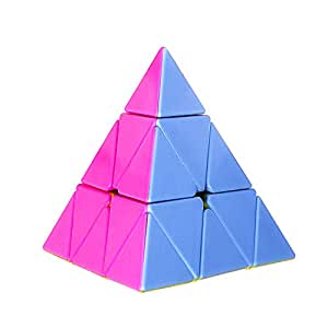 D ETERNAL Stickerless Pyramid Cube 3x3 Speed Triangle Pyraminx Puzzle Cube