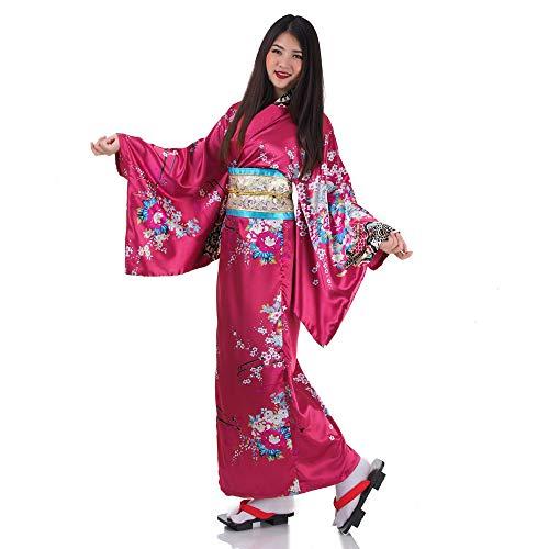 Japanischer Geisha Kimono Sakura Weinrot - 2