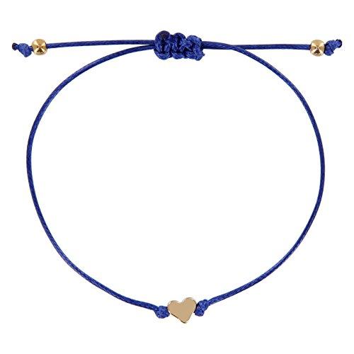ndschaftsarmband, Armband mit Perlen in Silber und Gold mit hochwertiger Wachsschnur gefertigt, Damen, Mädchen Armband (Blau-Gold) ()