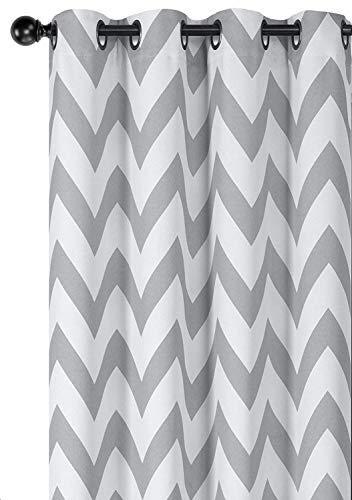 Regal Home Collections Designer Chic Chevron Verdunkeln Energiesparend Thermo-Tülle Top Vorhang Platten mit Bonus Raffhaltern, Verschiedene Farben & Größen Modern 95 in. Long Pair Grau (Und Navy Weiß-platten)