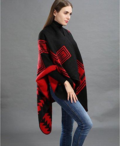 Dooxi Classico Popolare Mantella Poncho Bello Elegante Morbido Cardigan Cappotto per Donne Rosso