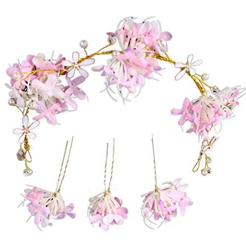 Meisijia Blumen Hairpin-Stock-Hochzeit Frauen-Brautblumen Hairpin U Shaped Haarspange Haarband Kopfbedeckung Set Zubehör (Frech Oder Nett Kostüm)