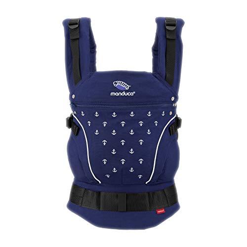 manduca Babytrage > Limited Edition 2018 BlueAnchors < Babybauchtrage, Hüft- und Rückentrage, Bio Baumwolle, Baby- und Kindertrage (3,5 - 20 kg), royal (blau) mit Stickerei (kleine Anker in weiß)