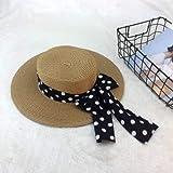 Linshenyoulu Protezione Solare da Sole Femminile Protezione da Raggi ultravioletti Bowknot a Punta Piatta,Brown