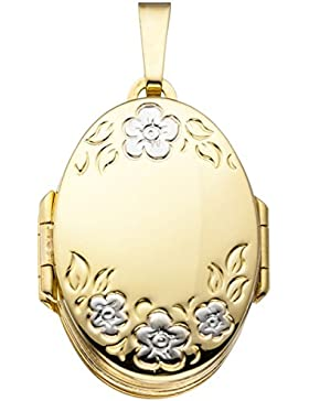 JOBO Medaillon oval mit Blumen-Muster 333 Gold Gelbgold zum Öffnen für 6 Fotos