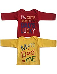 1b7422364341 Combo of 2 Supreme Quality Hosiery Cotton T-Shirts Red and Yellow for Girl  and