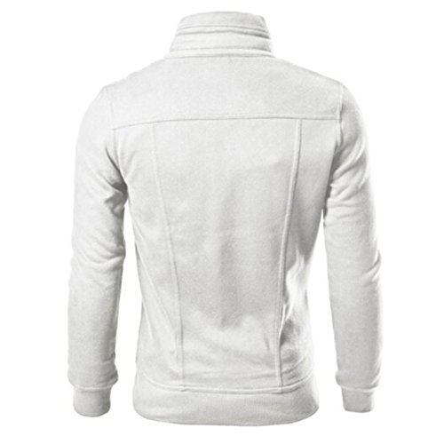 AMUSTER Moda Uomo Giacca Con Cappuccio Del Cardigan Del Rivestimento Progettato Top Slim Bianco