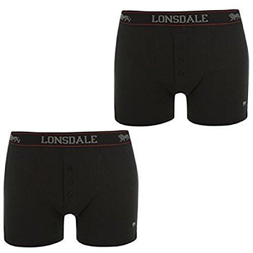 Herren 2er Packung Elastischer Bund Baumwollemischung Unterwäsche Shorts Boxershorts Lonsdale Schwarz