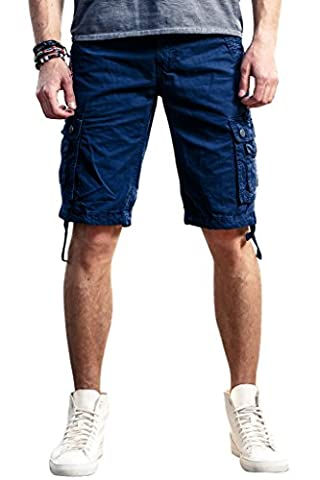 INFLATION Men's Casual Cargo Shorts Drawstring Waist 100% Cotton Shorts for Mens with Multi-pockets Summer Outdoor Sports