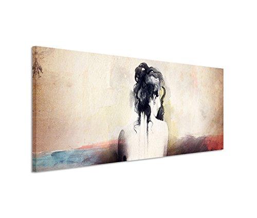 150x50cm Leinwandbild auf Keilrahmen Malerei Wasserfarben Frau Rücken abstrakt Wandbild auf...