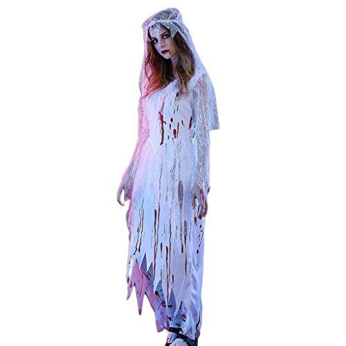 Halloween Braut Ghost Zombie Bloody Cosplay Kostüme mit Langen Ärmeln V-Ausschnitt Kleid mit Schleier Stage Party Requisiten -L (Bloody Braut Kostüm)