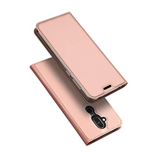 DUX DUCIS Hülle für Nokia 8.1,Ultra Dünn Flip Folio Handyhülle mit [Magnet,Standfunktion,1 Kartenfach] (Skin Pro Series) (Hellrosa)