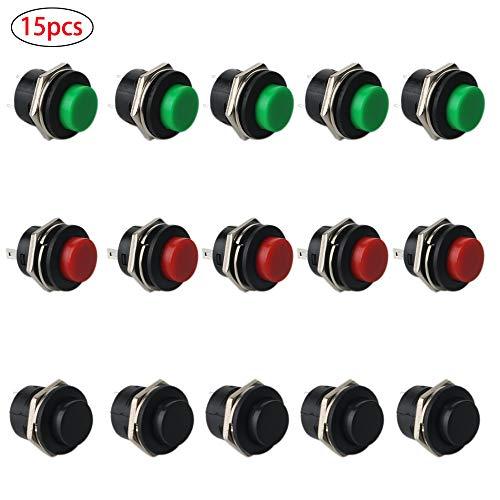 RUNCCI - 15 x SPST interruttore a pulsante rotondo, a pressione, momentaneo, AC 6 A/125 V 3 A/250 V