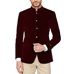 Louis Philippe Mens Mao Collar Solid Nehru Jacket