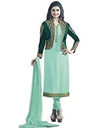 Ethnic Wings Women Satin Georgette Anarkali Semi-Stitched Salwar Suit (EW&ER_ER10780_Light Aqua_Free Size)