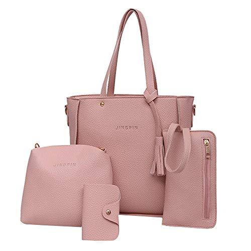 Felicove Damen Handtasche, Crossbody Portemonnaie Taschen Vier Set Handtasche Schultertaschen Vier Stücke Einkaufstasche