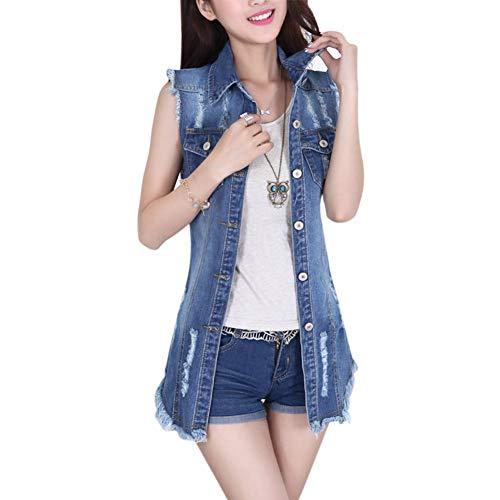 Gilet Jeans Donna Vintage Strappato Denim Cavo Eleganti Moda Gilet Abbigliamento Festivo Smanicato Bavero Single Breasted Slim Fit Fashion Jeans Jacket Gilè Tops (Color : Blau, Size : XL)