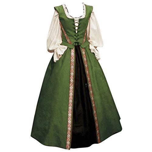 Allegorly Femmes Robe Medievale Victorienne Reine Costume Col V Manches Flares Robe Vintage Adulte Flare Manches Deguisement