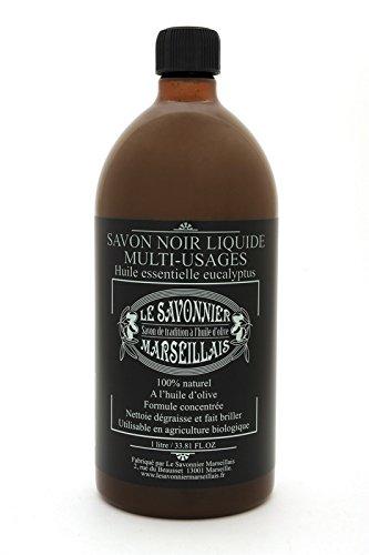 Véritable Savon noir liquide 1 litre Multi-usages à l'eucalyptus 100% Made In France