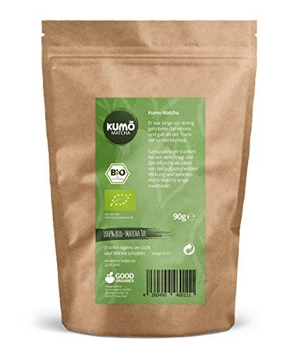 Bio-Matcha-Tee (90g) – für Matcha-Tee, Matcha-Latte, Cooking, Smoothies – 90g hochwertigstes Bio Matchapulver – 100% Bio – aus nachhaltigem Anbau – Abgefüllt und kontrolliert in Deutschland