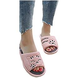 Zapatillas de Invierno Gato de Dibujos Animados Mujeres Chanclas Amantes Pareja Resbalón Cómodo Inicio Sandalias Plataforma Zapatos Calientes
