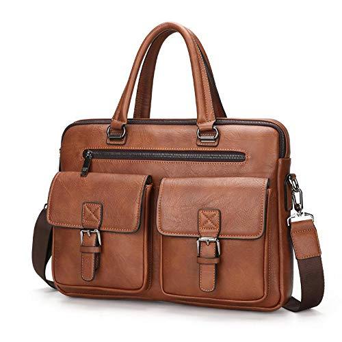 Weiche Aktentaschen (XXXSDD Leder Business Mens Aktentasche weichen Griff 14 Zoll Aktentaschen Taschen Male Tote Computer Bag)