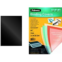 Fellowes - Pack 100 unidades portadas de encuadernacion, formato A4, negro + 100 unidades portadas de encuadernacion, formato A4, transparente