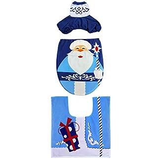 Xiton 3 Piezas Santa Asiento de Inodoro y Conjunto de Alfombra Juegos de baño de Navidad para Decoraciones de Navidad