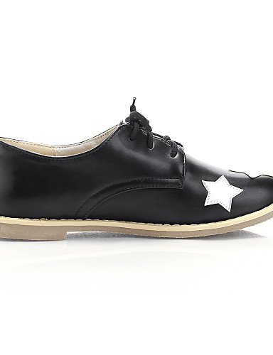 ZQ Scarpe Donna - Stringate - Casual - Punta arrotondata - Piatto - Finta pelle - Nero / Bianco , white-us3.5 / eu33 / uk1.5 / cn32 , white-us3.5 / eu33 / uk1.5 / cn32 black-us8 / eu39 / uk6 / cn39