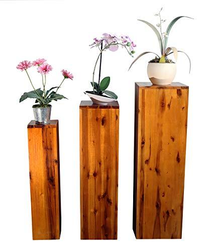 SAM 3er-Set Blumensäulen Enie, Akazie, FSC 100{14ce827df8a15e26a56cc70323fb80b526e47088cb20cc96b14bbd092686e70a}, Blumenständer aus Holz, lackiert, 25x25x85; 20x20x75; 15x15x65