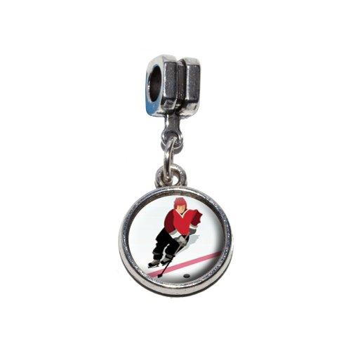 (Ice Hockey player rot Jersey Italienisches europäischen Euro-Stil Armband Charm Bead–für Pandora, Biagi, Troll,, Chamilla,, andere)