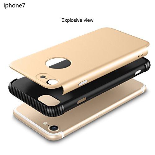 iPhone 7 Hülle, Oceanhome 2 in 1 Hart PC + TPU Case Cover Klassik Sport Schutz Schutzhülle [Stoßdämpfung] Carbon Faser Ladekantenschutz Anti Sturz Smart Phone Case für Apple iPhone 7 4.7 Hülle ( schwa Schwarz