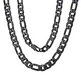 ChainsPro Figarokette Herren Jungen Kette Silber Halskette 7mm breit Schwarz für Papa