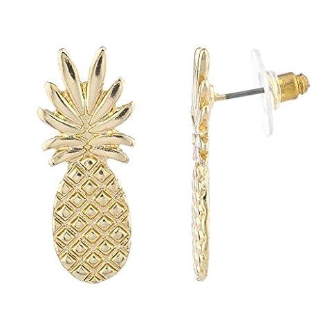 LUX Zubehör Gold Ton Ananas Fruit tropical Neuheit Ohrring Pfosten