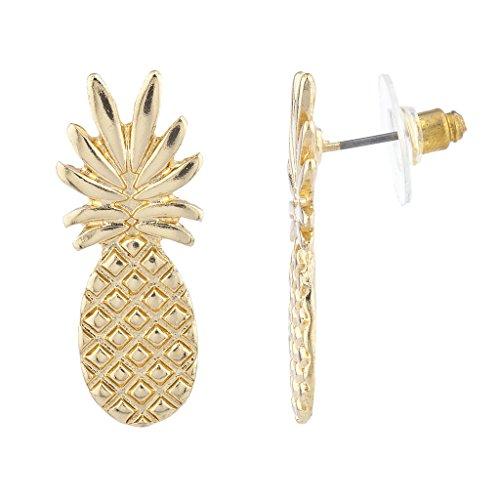 LUX Accessoires, goldener Farbton, Ananas, tropische Frucht, Stab-Ohrringe -
