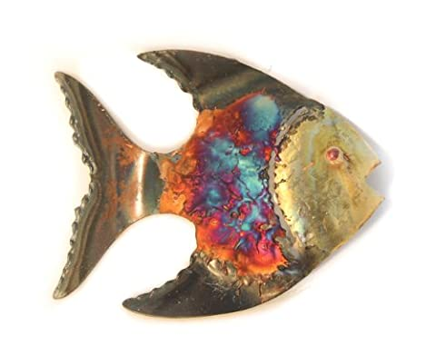 Fish multi-coloured recycled metal wall hanging small 11 cm long-