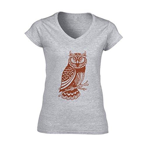 Owl Bird Night Midnighter Red Logo Damen V-Neck T-Shirt Grau