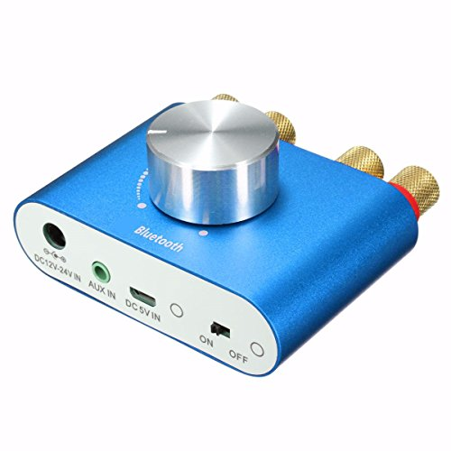 Mini Bluetooth Stereo Audio Amplificatore, ELEGIANT Doppio Canale Ampli Amplificatori Audio Ricevitore Amplificatori stereo Scheda di Amplificazione TV Impianto Stereo ad Alta Potenza Bordo Canale Amplificatore 2.0 Bluetooth Per gli Altoparlanti da 6,5 Pollici +12V Energia Adattatore per Auto Moto Smartphone TV Iphone iPad iPod Laptop Tablet PC Blu