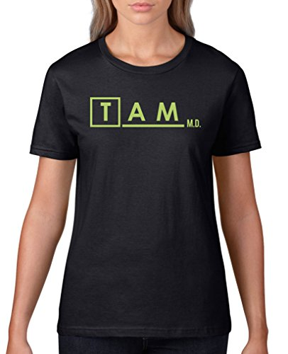 Comedy Shirts - Tam M.D. - Firefly - Damen T-Shirt - Schwarz/Grün Gr. XS