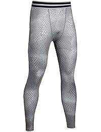 SaiDeng Hombres Apretado Elástico Compresión Secado Rápido Leggings Pantalones de Fitness Gris L