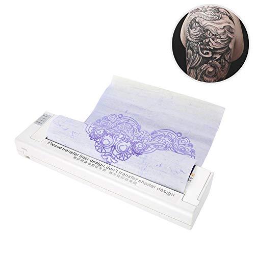 Professionelle Tattoo-Drucker, Thermokopierer für A4-Papier Tattoo-Vorlage, Plotter-Maschine für DIY Tattoo Design Drawing (White)