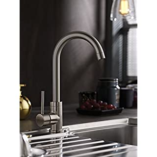 Brushed Steel Single Lever Single Hole Modern Kitchen Mixer Tap ALLIZ