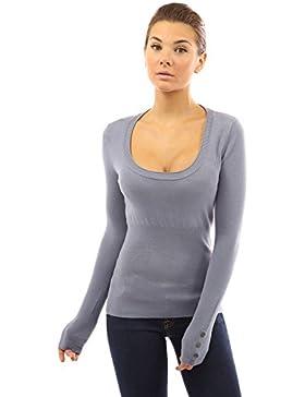 PattyBoutik Mujer con cuello redondo suéter pernos de botón