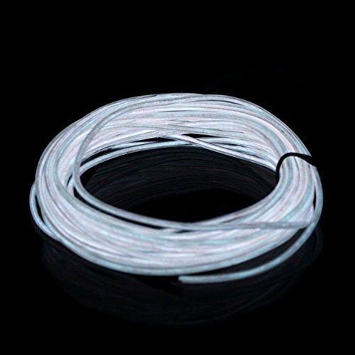 ILOVEDIY 3M Fil Neon Flexible Led Lumière Bande de Corde Light À Piles EL Wire avec Boîte de Contrôle pour Voiture Décoration Fête Club Restaurant Café Jardin (Blanc, 3M)