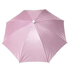 Pink Nylon Headwear Umbrella Hat for Golf Fishing Camping