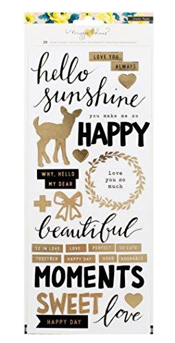 American Crafts Maggie Holmes Bloom Vereitelt Klar Aufkleber Happy W/Gold (Scrapbooking Paper Crate)