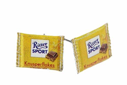 ritter-sport-viennagold-miniblings-orecchini-cioccolato-cornflakes-giallo