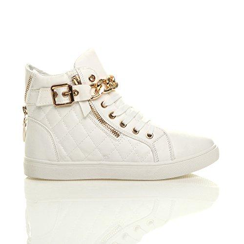 Branco Laço Sneakers Colcha Senhoras Ouro Cadeia Oi Tamanho top Cinto De q6wfORvnfI